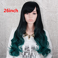 Anime Cosplay Party Lolita Women Long Wavy Hair Full Wigs Synthetic Hair long Ombre Wigs Black to Teal Green natural wavy wig