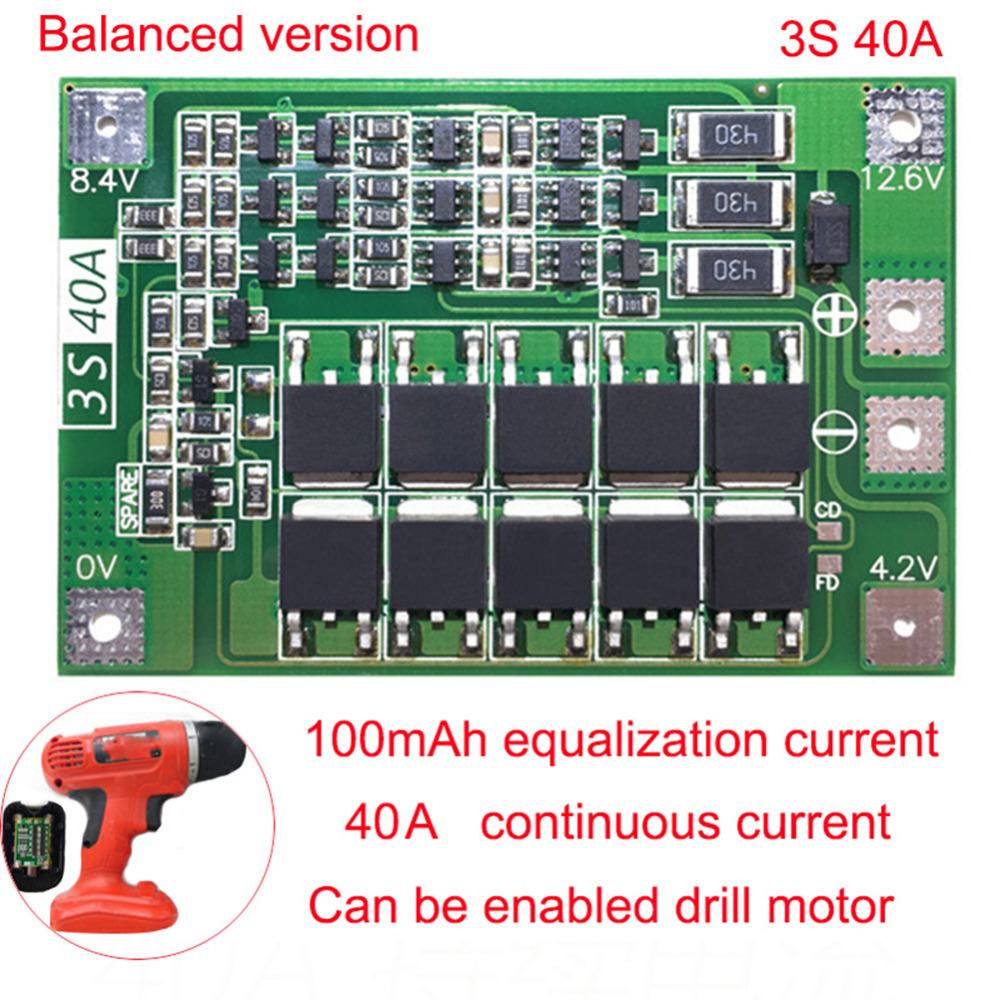 3S 40A BMS 11.1V 12.6V 18650 Lithium Battery Protection Board BMS Board Standard Balance Upgrated Version For Drill image