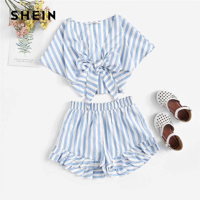 купить SHEIN Kiddie V Neck Striped Knot Front Top And Layered Hem Shorts Girls Outfits 2019 Summer Short Sleeve Boho Beach Kids Sets по цене 1099 рублей