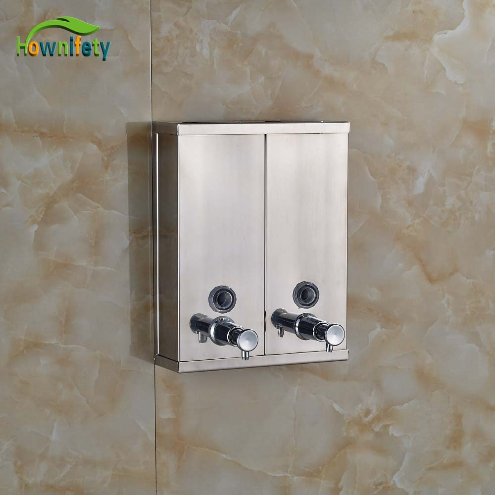 Freeshipping Stainless Steel Bath Kitchen Sink Liquid Double Soap Dispenser Wall mounted