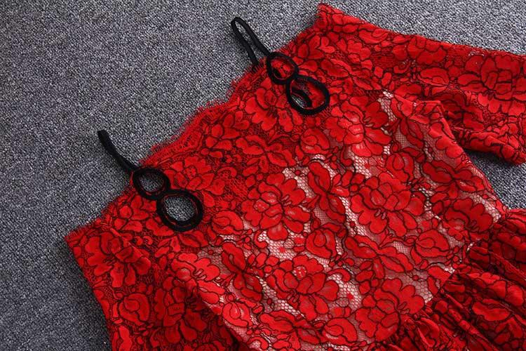 Brodé Rouge Red Ligne Xxxl Femmes Spaghetti La Mini Mariée Taille Plus Style Slash Strap Out Creux Cou Une De Dress Dentelle Chinois YxgCFnZf