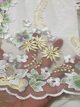 2018 Kleurrijke Laatste Nigeriaanse Kant Stof Hoge Kwaliteit Tulle Afrikaanse Kant Stof Bruiloft Afrikaanse Franse Tulle Lace Bridal LCD946