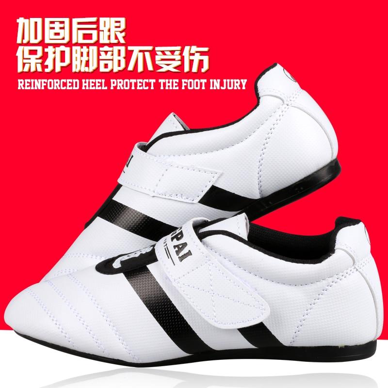 New PU Leather Breathable KICK Taekwondo Shoes Martial Arts Sneaker White With Black Stripes Child Male Female Training Shoes