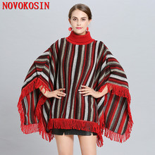 SC259 Autumn Winter Women Plus Size High Neck Sweaters Tassel Outwear Coat Knitted Poncho Cape Loose Vertical Striped Pullovers plus size striped tassel tee