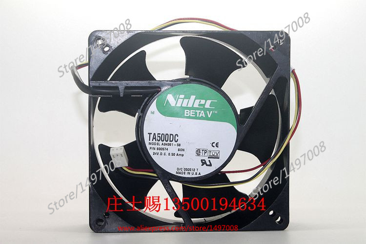 Nidec A34361-58, SON DC 24V 0.50A connecto , 127x127x38mm Server Square fan nidec ta350dc c35403 57 server square fan dc 24v 0 15a 92x92x25mm 3 wire