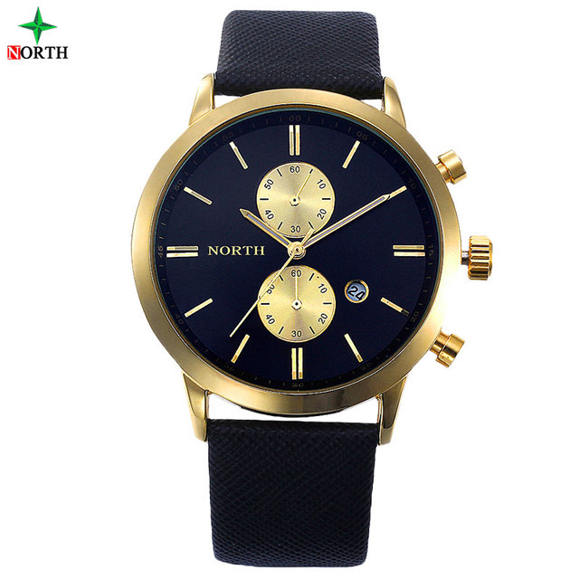 NORTH Luxury Quartz Men Watches 30M Waterproof Male Business Wristwatch Fashion Casual Genuine Leather Strap Men's Dress Watch