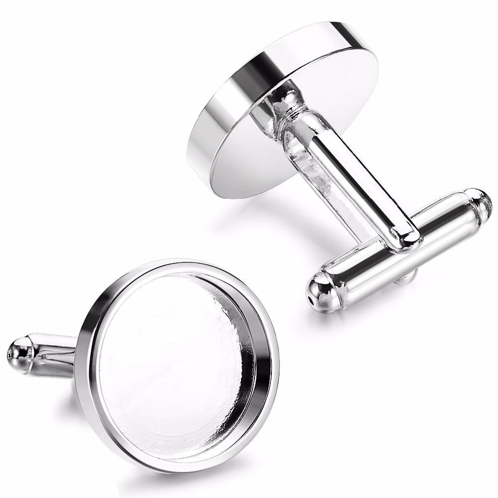 10pcs Silver Fit 16mm 18mm Round Glass Cabochon Photo Frame Brass Bezels Base Tray Cufflinks For Men Cufflink Blanks Supplies