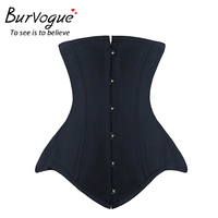 Burvogue Underbust Corset Bustier Leather Double Steel Boned Underbust Waist Training Corset For Woman Waist Control