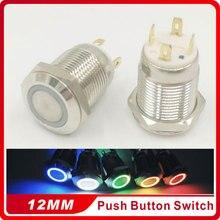 цена на 1PC 12MM with LED 3V 5V 6V 12V 24V 220V Flat Head Metal Push Button Switch Momentary Auto Reset Waterproof Illuminated Switch