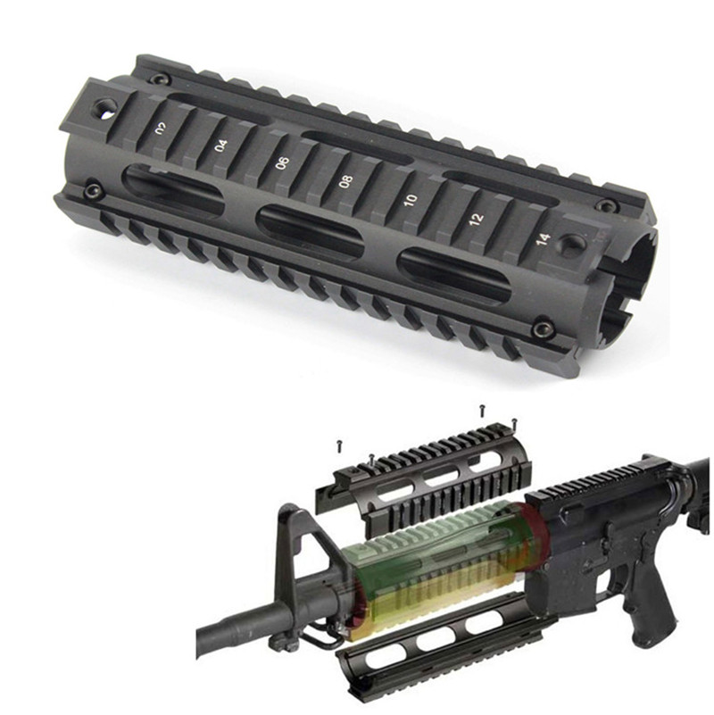 Hunting Tactical Airsoft AR-15 M4 Handguard Carbine 6.7 Inch RIS Quad Rail 2 Piece Drop-In Picatinny Mounting Rifle Accessories(China)