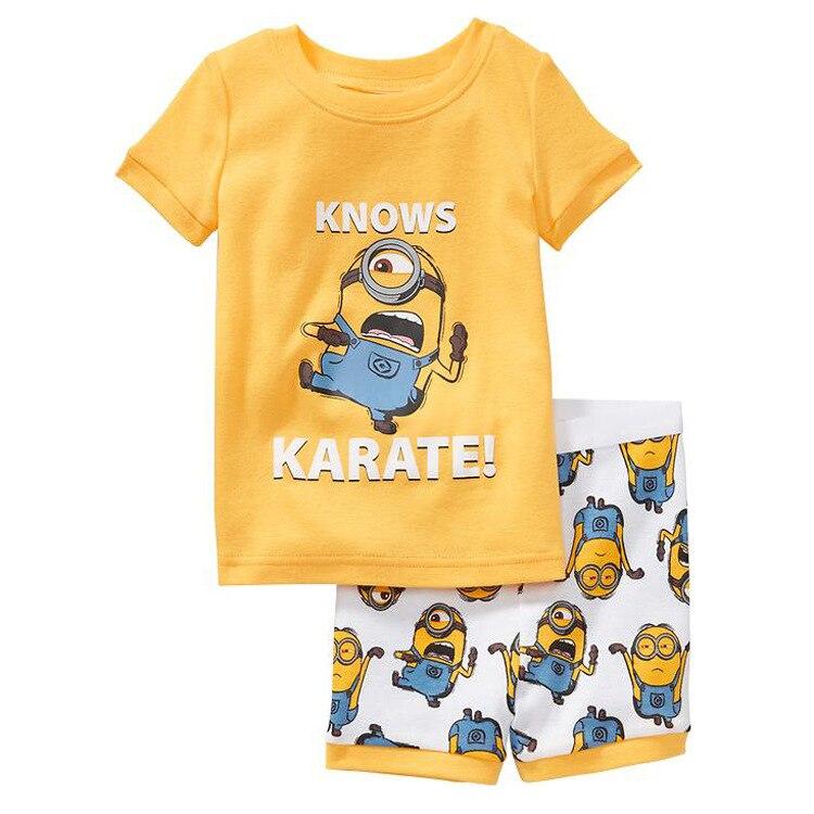 643a790fb361 Summer Child Pajama Sets Cotton Cartoon Yellow Boy   Girl Short ...