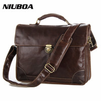 Genuine Leather Bag Men Leather Briefcase Laptop Euro High Quality Real Leather Business Shoulder Bag Portable
