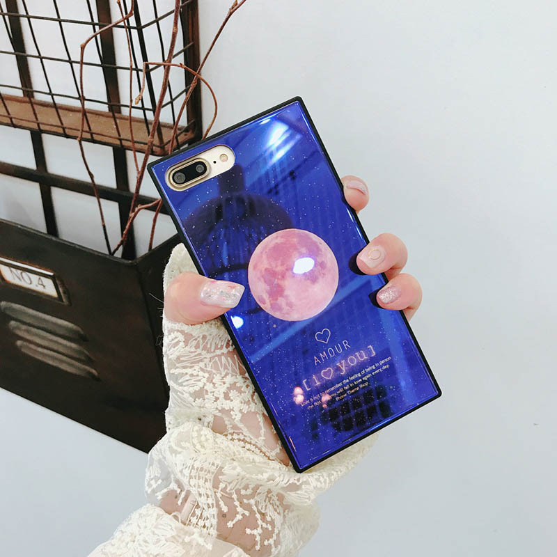 Kerzzil Blue Ray Glass Square Phone Case For iPhone X 8 Plus Luxury Moon Earth Back Cover For iPhone 7 6 6S Plus Cases Funda