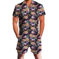 Flamingos Floral Print Rompers Men Short Sleeve 3D Gay Party Jumpsuit Playsuit Harajuku Harem Cargo Overalls Summer OnePiece set