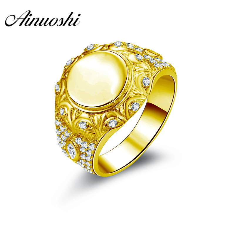 AINUOSHI Luxury Smooth Gold Ring 10K Solid Yellow Gold Men Ring Complex Round Band Engagement Wedding Jewelry 6g Wedding Band кольцо s j063 wedding band ring