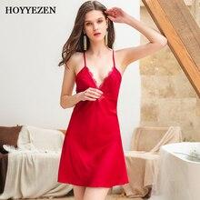 Hoyyezen sexy women sleepwear deep V back cross openwork lace home sling nightdress Nightdress suit