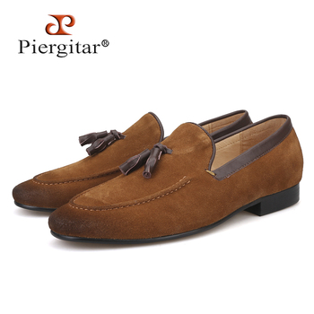 Black and Brown men suede shoes with leather tassel men handmade casual loafers
