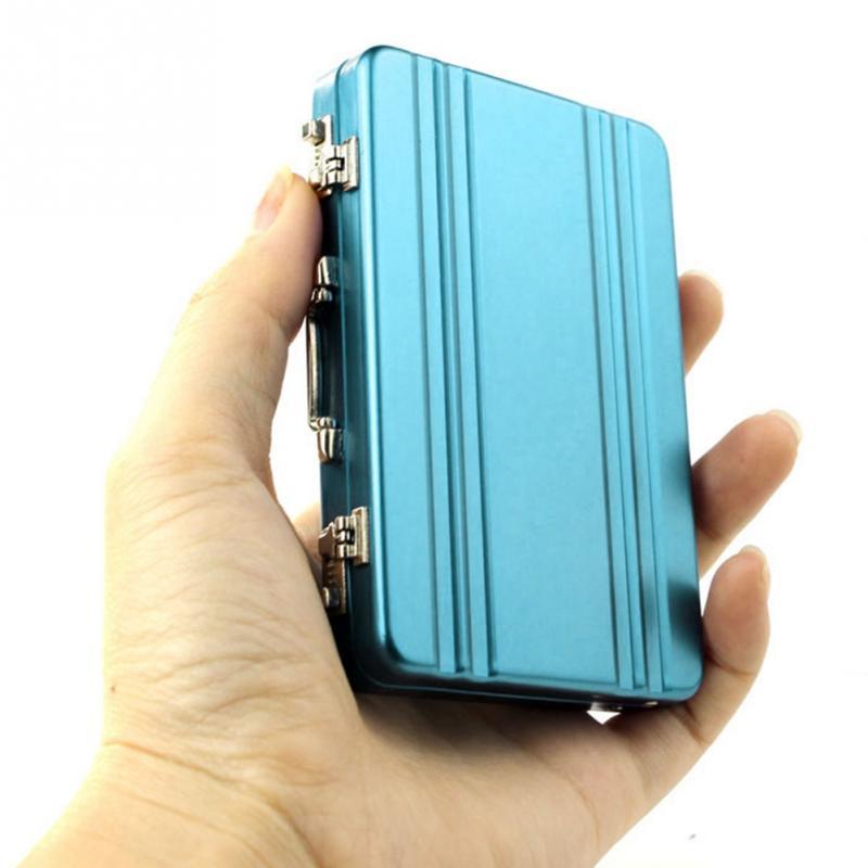 Mini Card Holder Suitcase Shaped Design Aluminum Credit Card Holder Women Men ID Card Case Travel Business Cardholder Metal Box billetera sailor moon