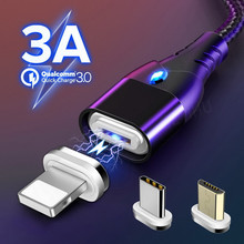 Magnetic Cable Fast Charging USB Type C Cable Magnet Charger Data Charge Micro USB Cable Mobile Phone Cable 3A for iphone Xiaomi цены
