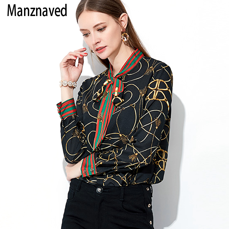 2019 New Fashion Chiffon   Shirt   Women long-sleeved Korean printing Bow retro ladies   Blouse   new autumn Tops