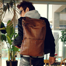 men's trend Backpack male leather backpacks travel big size bags luggage men's student's fashion preppy backpack