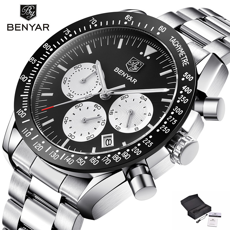 BENYAR Mens Watches Top Brand Luxury Sport Chronograph Quartz Watch Men Full Steel Calendar Luminous Male Clock bayan kol saati все цены