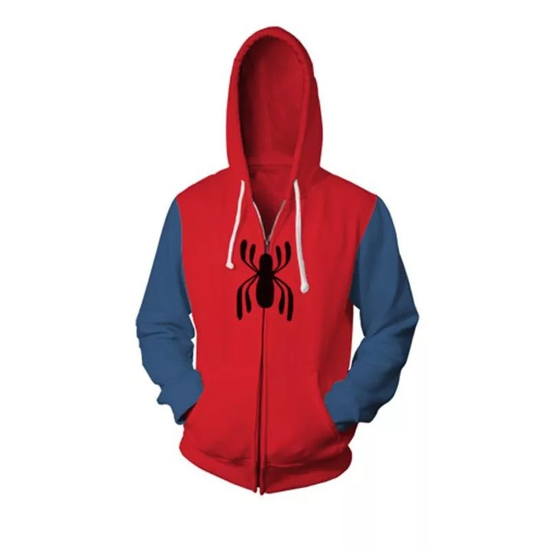 Spider-Man Into the Spider-Verse Peter Parker Cosplay Costume 3D Printed Spiderman Hoodies Men Women Hooded Zip Up Sweatshirt