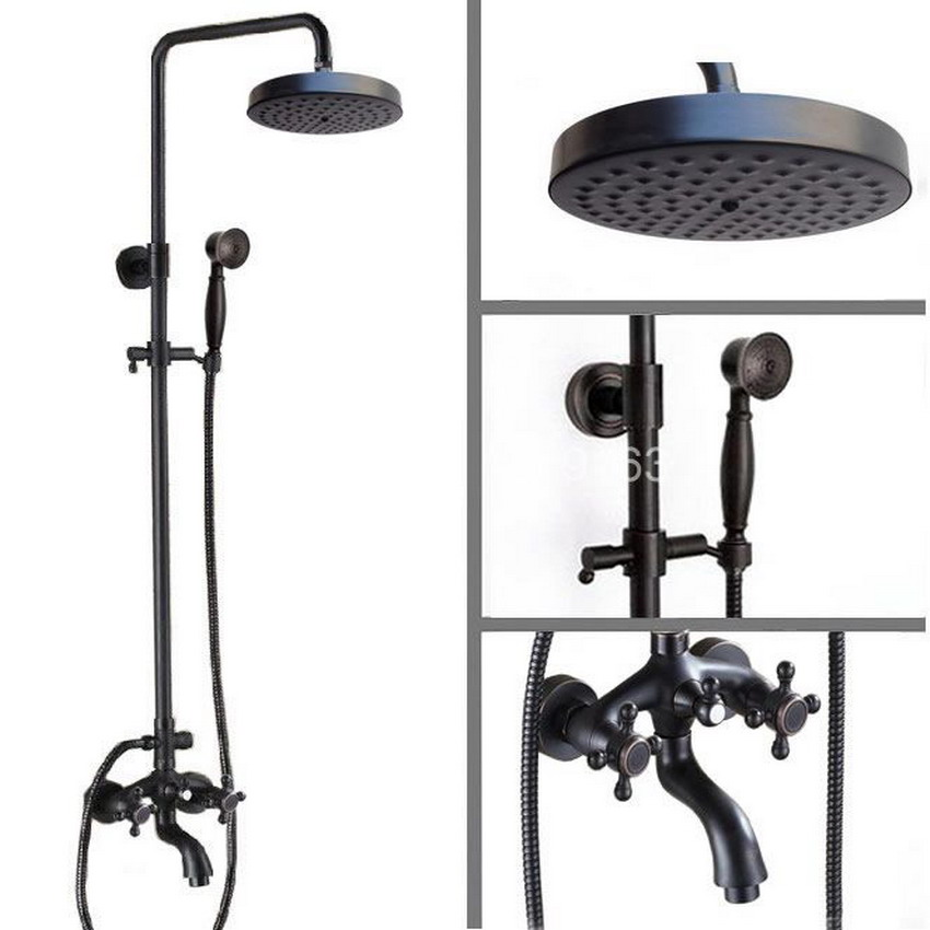 Wall Mounted Black Oil Rubbed Bronze Bathroom Rainfall Shower Faucet Round Shower Head Set Bathtub Tap Two Cross Handle ars456