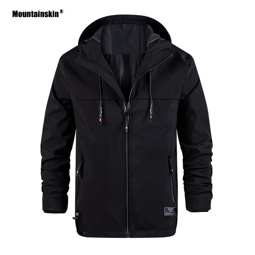 Mountainskin Mens Outdoor Softshell Hooded Jackets Spring Outdoor Hiking Climbing Camping Trekking Windbreakers Male Coats VA382