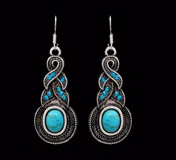 Crazy Feng Fashion Jewelry Hot Sale Ethnic Blue Stone Jewelry Sets Tibetan Silver Necklace 3