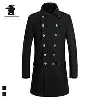 New Mens Long Wool Pea Coat Winter Designer Fashion Plus Size Business Casual Wool Coat Men