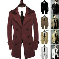 2017 new designer slim sexy double breasted shore trench coat men overcoat long sleeve mens clothing business outerwear 9XL