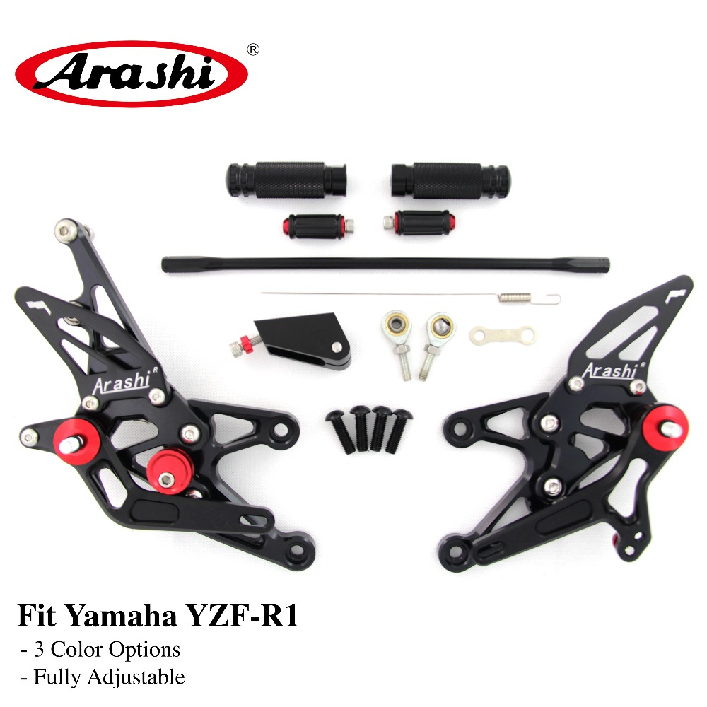 Arashi For YAMAHA YZF R1 2007 2008 07-08 CNC Adjustable Footrest Foot Pegs Rider Rear Sets Rearset Footrest Foot Rest BLACK for yamaha yzf r125 2008 2013 aluminum cnc adjustable motorcycle rider rear sets rearset footrest foot pegs 2009 2010 2011