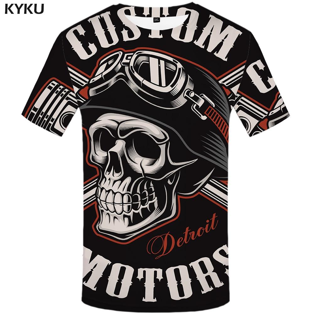 KYKU Skull T Shirt Men Black Tshirt Funny Punk Rock Clothes Military 3d Print T-shirt Hip Hop Mens Clothing Summer Streetwear