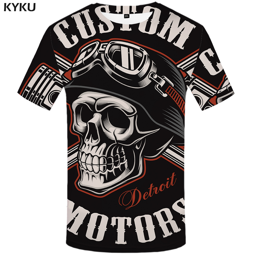 KYKU Skull T Shirt Men Black Tshirt Funny Punk Rock Clothes Military 3d Print T-shirt Hip Hop Mens Clothing Summer Streetwear
