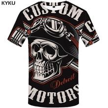 KYKU Skull T Shirt Men Black Tshirt Funny Punk Rock Clothes Military 3d Print T shirt