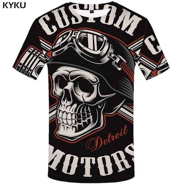 KYKU גולגולת T חולצה גברים שחור חולצת טי מצחיק פאנק רוק בגדי צבאי 3d הדפסת חולצה היפ הופ Mens בגדי הקיץ streetwear