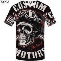 KYKU czaszka T koszula mężczyzna czarna koszulka śmieszne Punk Rock ubrania wojskowe 3d t-shirt z nadrukiem Hip Hop męskie odzież lato Streetwear