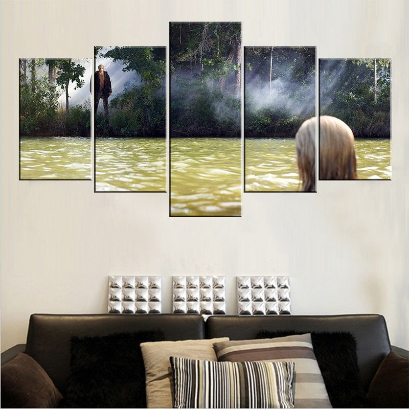 2017 newest canvas printed paintings yellow river green tree landscape wall paintings for living room unframed 5 pieces pictures ...