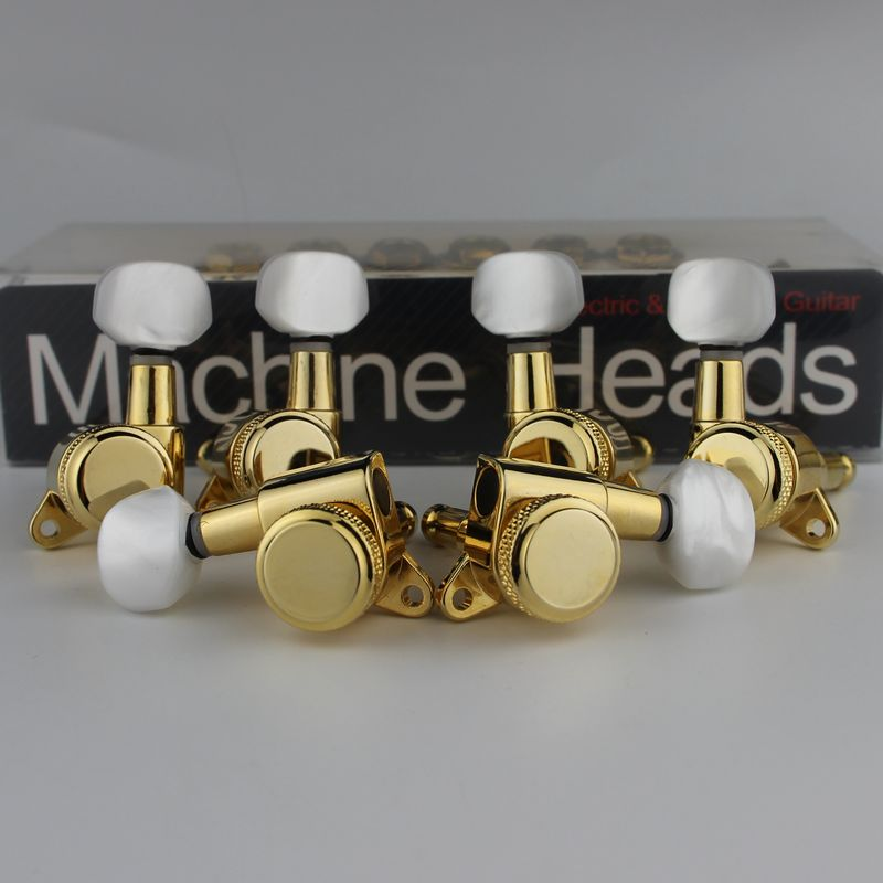 6Pcs Guitar Machine Heads Locking Tuning Key Pegs Tuners with White Button Replacement for Electric or