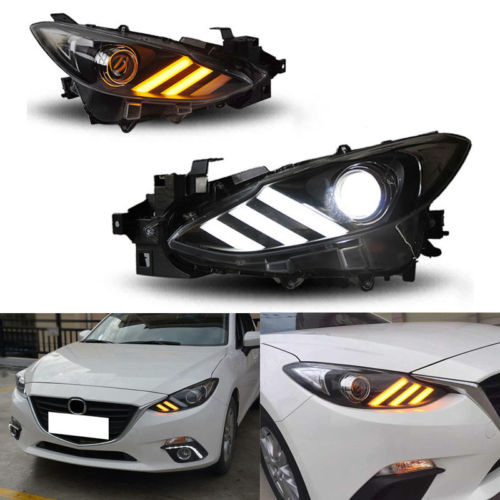 Black housing Headlights Set For Mazda 3 Axela 2014-2016 With Two-tone DRL