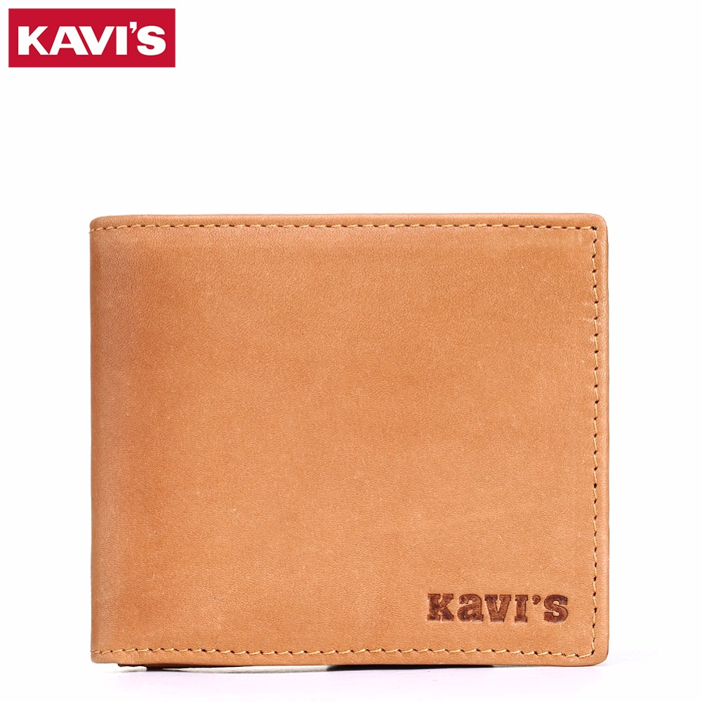 KAVIS 100% Men Genuine Leather Wallets Famous Brand Credit Card Holder Slim Coin Purse with Small Mini portomonee walet fashion 100% genuine leather men designer patchwork wallets famous brand men s wallet man fashion purse with credit bank card holders