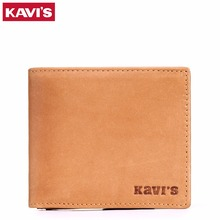 KAVIS 100% Men's Genuine Leather Wallets Famous Brand Credit Card Holder Slim Purse Gift Mens Real Leather Wallets with Zipper