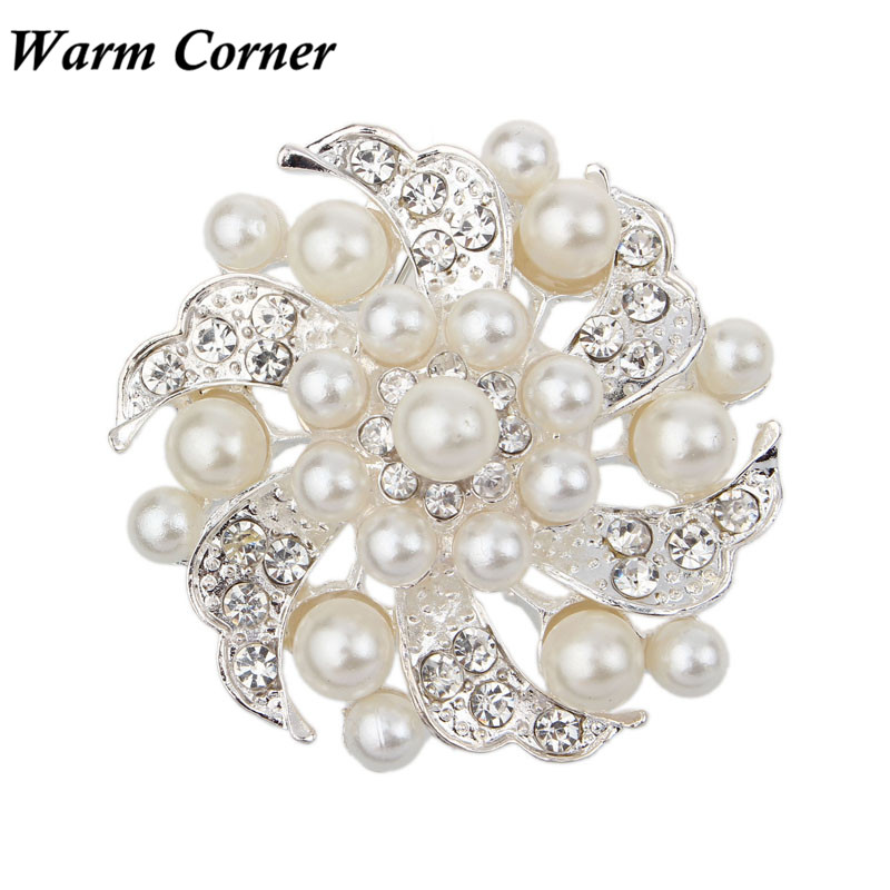 2017 New Fashion Christmas Gift Noble All-match Rhinestone Pearl Prom Brooch Pin Jewelry Party Free Shipping Sept 28