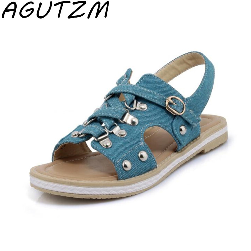 AGUTZM Plus Size 33-43 Canvas Sandals Women Big Size 2018 Women Summer Shoes Comfortable Women Sandals Flat sandalias