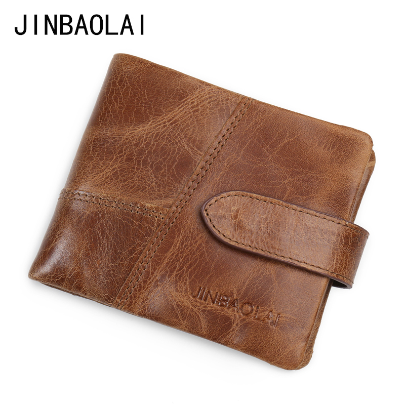 JINBAOLAI New Brand Men's Genuine Leather Wallet Zipper & Hasp Men Wallets Fashion Purses With Card Holder Coin Purse Carteira