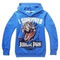2016 Crianças de Boa Qualidade meninos Mundo Jurássico Dinossauro hoodies Jaqueta moletom com capuz camisa de manga longa moletons casacos 5 pçs/lote
