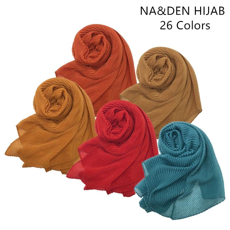 Soft fashion ripple 26colors fold solid color shawls viscose cotton Muslim hijab woman scarves pashmina viscose