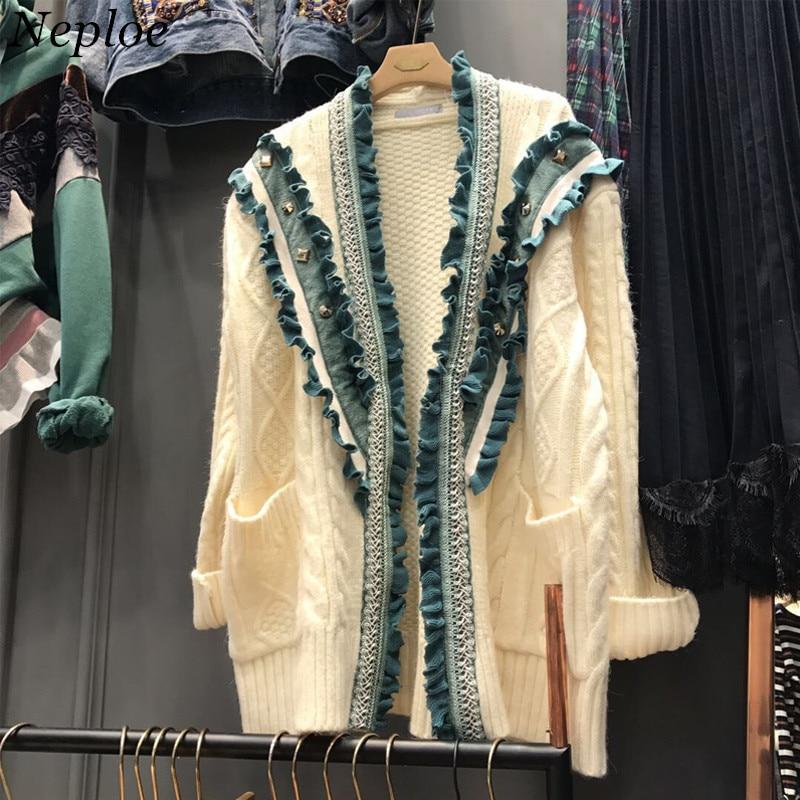 Sweaters Women's Clothing Dynamic Neploe Ruffles Pathwork Rivet Beading Women Cardigan Sweet Loose Fashion Open Stich 2019 Autumn Winter New Sweet Sweater 69072