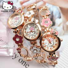 Lovely Hello Kitty Watch Children Girl Women Fashion Crystal Bracelet Dress Quartz Wristwatches Kids hellokitty Learning Machine подвеска hello kitty hnl1704chc hellokitty